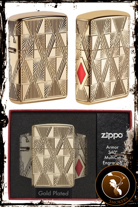 Zippo Luxury Diamond Design placata cu aur